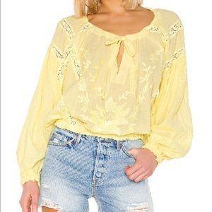 Free people pleasant yellow voluminous top